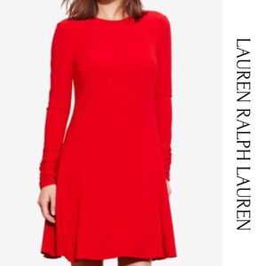 Lauren Ralph Lauren Jersey A Line Red Dress Sz 6